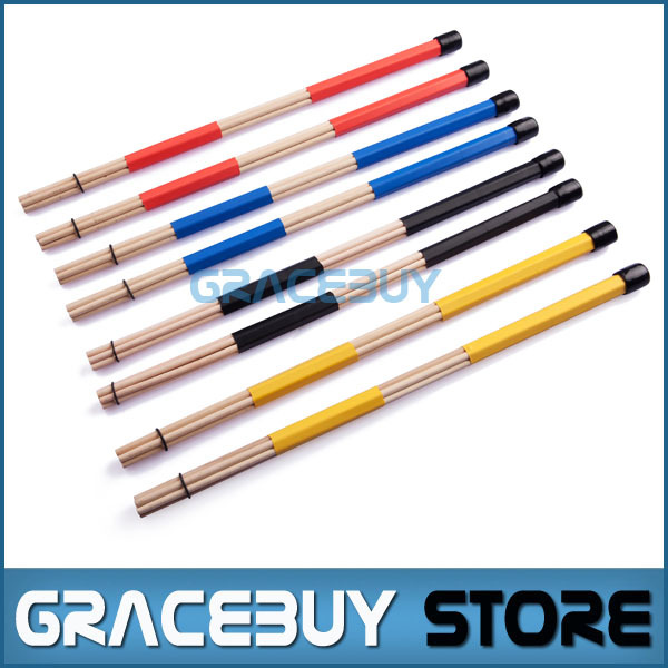 Drumsticks Hot Rods Customized Musical Drum Rute Sticks Brushes Colorful Thunder Rod Blue, Yellow, Red, Black New(China (Mainland))