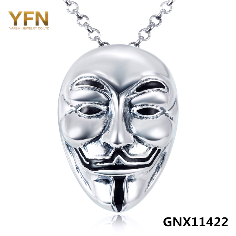 GNX11422 Genuine 925 Sterling Silver Anonymous Hero Necklace V For Vendetta Movie Jewelry Antique Silver Necklace & Pendant