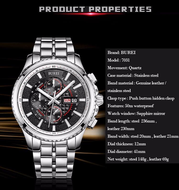 BUREI Мужские Часы Из Нержавеющей стали Сапфировое Стекло Кварцевые Водонепроницаемые Наручные Часы Хронограф Аналоговый Человек Часы Relojes Hombre