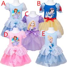 Girls Dresses Party Princess Sofia Elsa Dress Snow White Dress Rapunzel Costumes Girls Princesa Cinderella Kids Dress Queen 1pcs