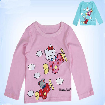 Children girls long-sleeved t-shirt kitty KT cartoon casual summer clothing kids clothes free shipping