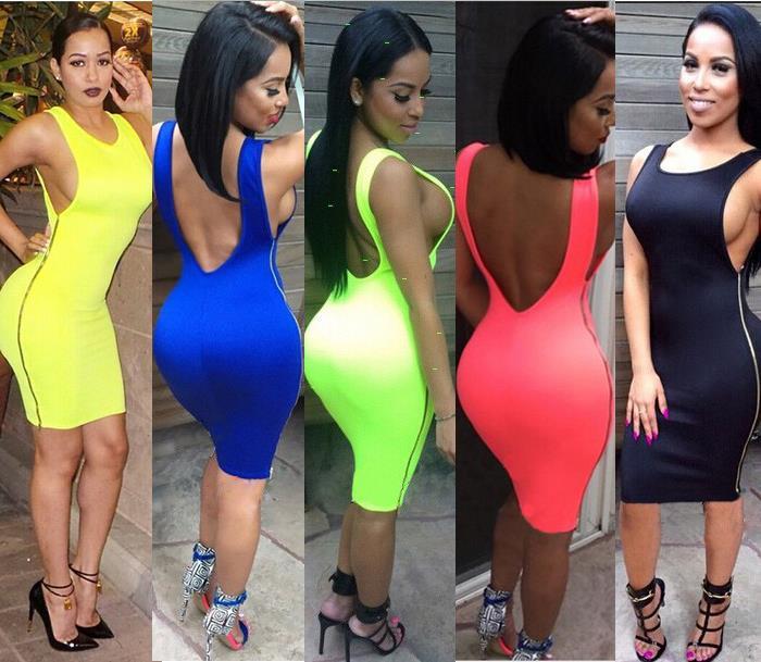 Women Clothing 2015 Summer Style Ladies Black Dress Cotton Backless Midi Dress Side Zipper Bandage Bodycon Party Sexy Dresses(China (Mainland))