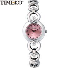 TIME100 Fashion Elegance Women Quartz Watches Diamond Analog Jewelry Pink Skeleton Alloy Bracelet Watch Gift Relogio Feminino(China (Mainland))