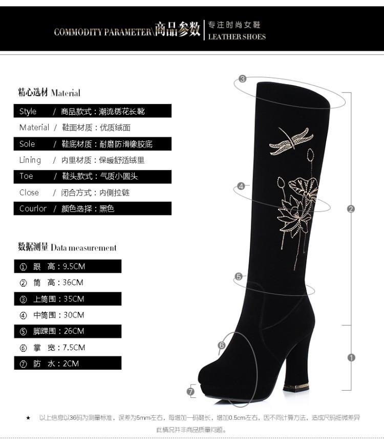 2016 Autumn Winter Womens Shoes Online Sale New Heeled Knee High Black Zipper Chunky Heel Shoe Boots
