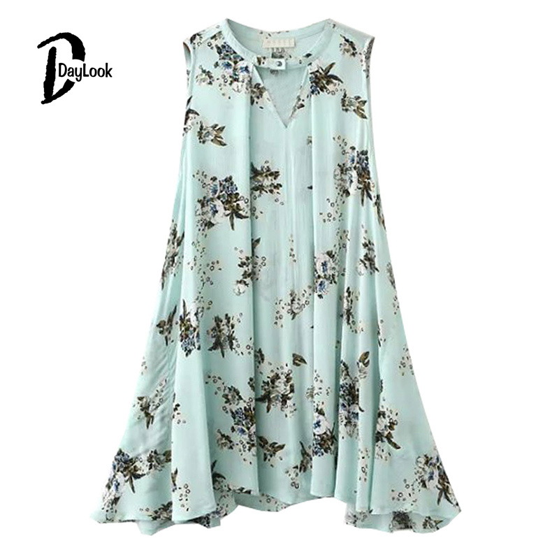 DayLook 2016 Summer Style Summer Dress Women O-neck Cut Out Floral Bohemia Sleeveless Swing Pleated Mini Dress Plus Size S-L(China (Mainland))