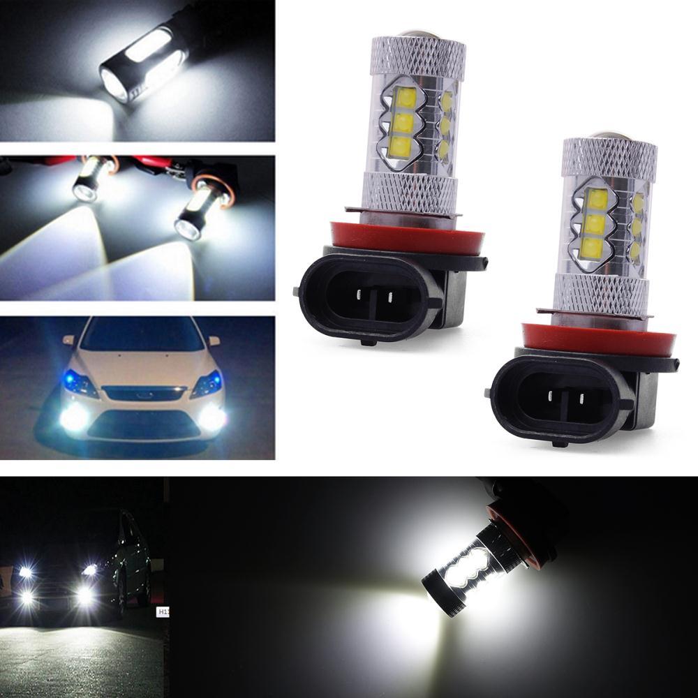 2PCS Car H11 LED Epistar Car Fog Bulb Head Light Daytime Super Bright Fog Day Driving Light Headlight Lamp 80W LD314