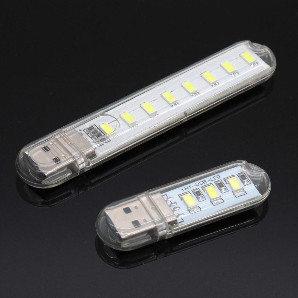 Portable USB LED Night Light 1LED 3LEDs 8LEDs Keychain 5V