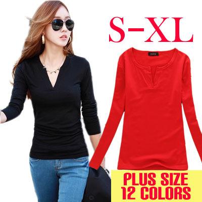 V-образным вырезом вязание женщины футболка свободного покроя топы с длинным рукавом мода blusas femininas 2016 твердых футболки одежда
