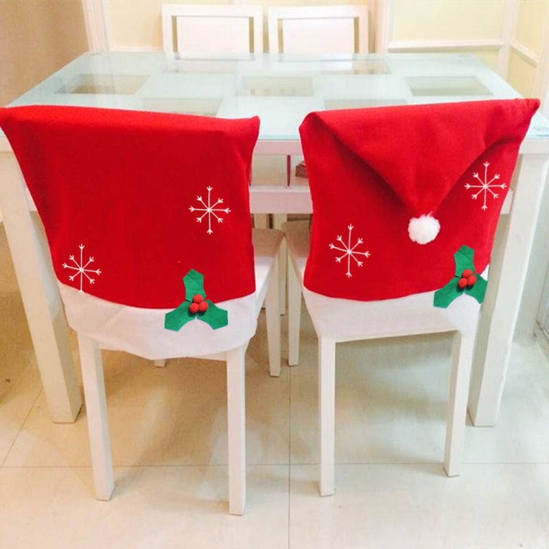 Christmas Decoration Party Gifts Santa Claus Red Hat Chair Back Covers for Christmas Party Home Decoration hot sale(China (Mainland))