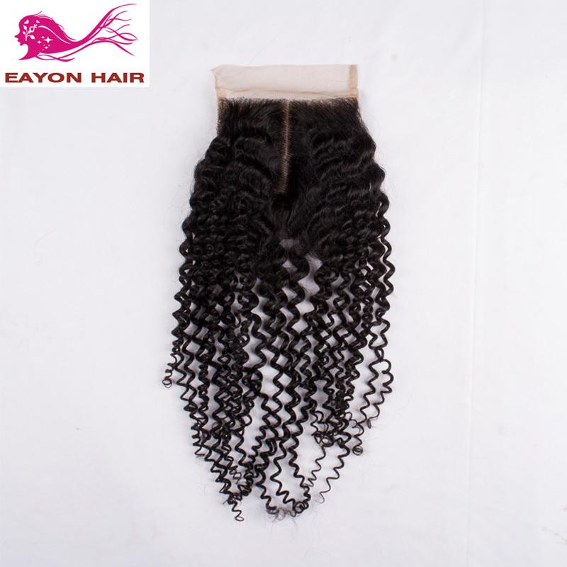 Eayon hair Brazilian curly virgin hair closure kinky curly 100 human hair lace top closure (4*4) free part lace closure<br><br>Aliexpress