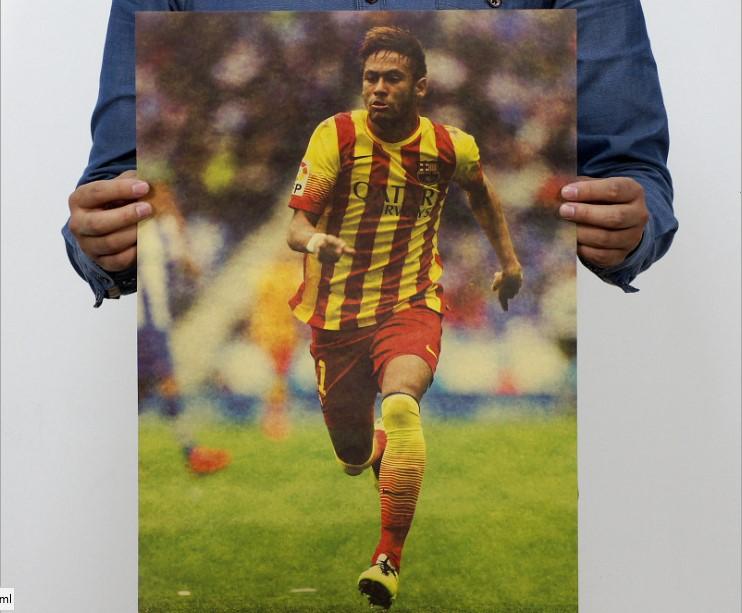 Brazil football star Neymar Poster sport Advertising Poster 51*35.5cm Kraft Paper personal favorites Decoration wall sticker(China (Mainland))