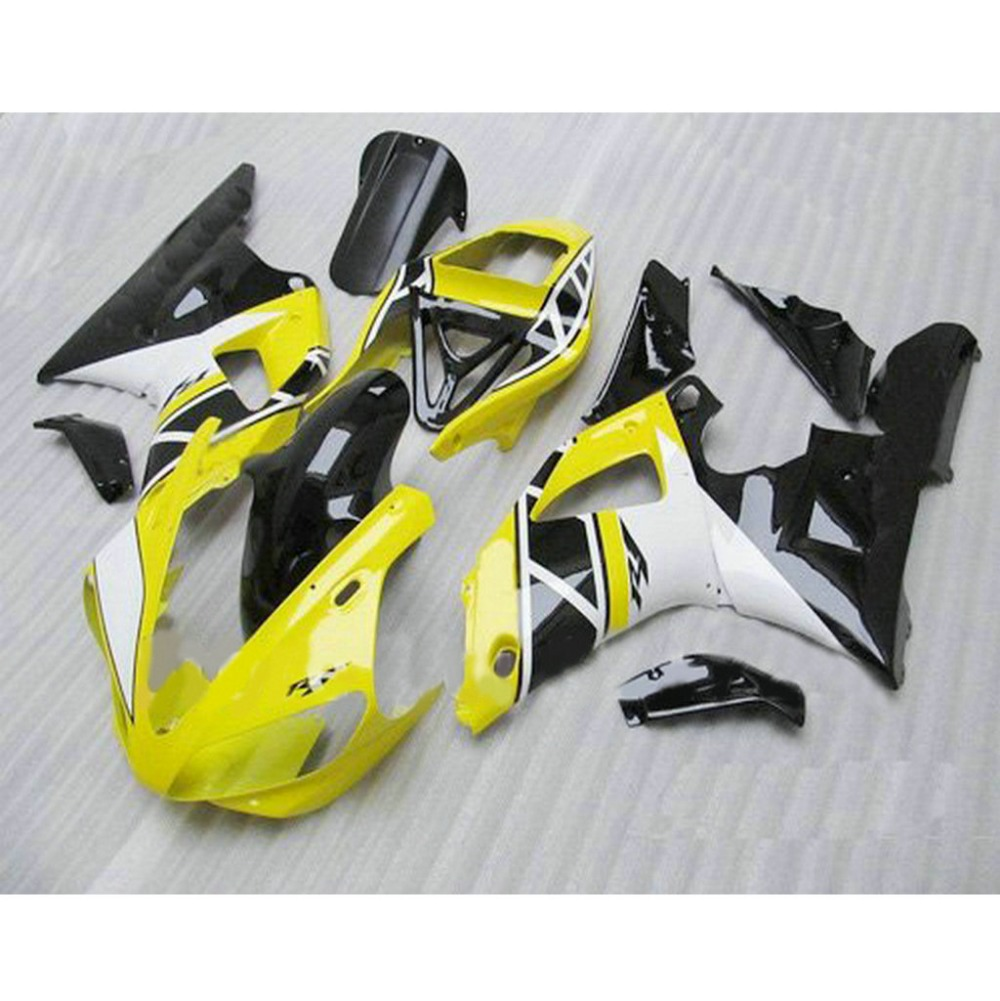 Cheap price ABS motorcycle injection molded fairings kit for YAMAHA YZFR1 1998 1999 YZF R1 98 99 white yellow body fairing kits(China (Mainland))