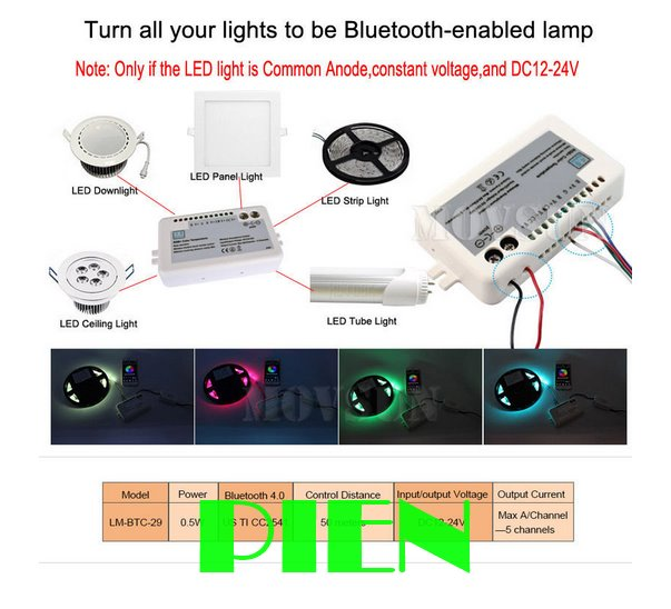 12-24V Mi Light Bluetooth 4.0 LED Controller for RGB/WW/CW color temperature music dimmable control led strip Free shipping 1pcs(China (Mainland))