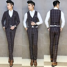 (Jacket+Vest+Pants) 2014 New Winter Arrival Fashion High Quality Business Dress Plaid Slim Fit Suits Blazer F0328