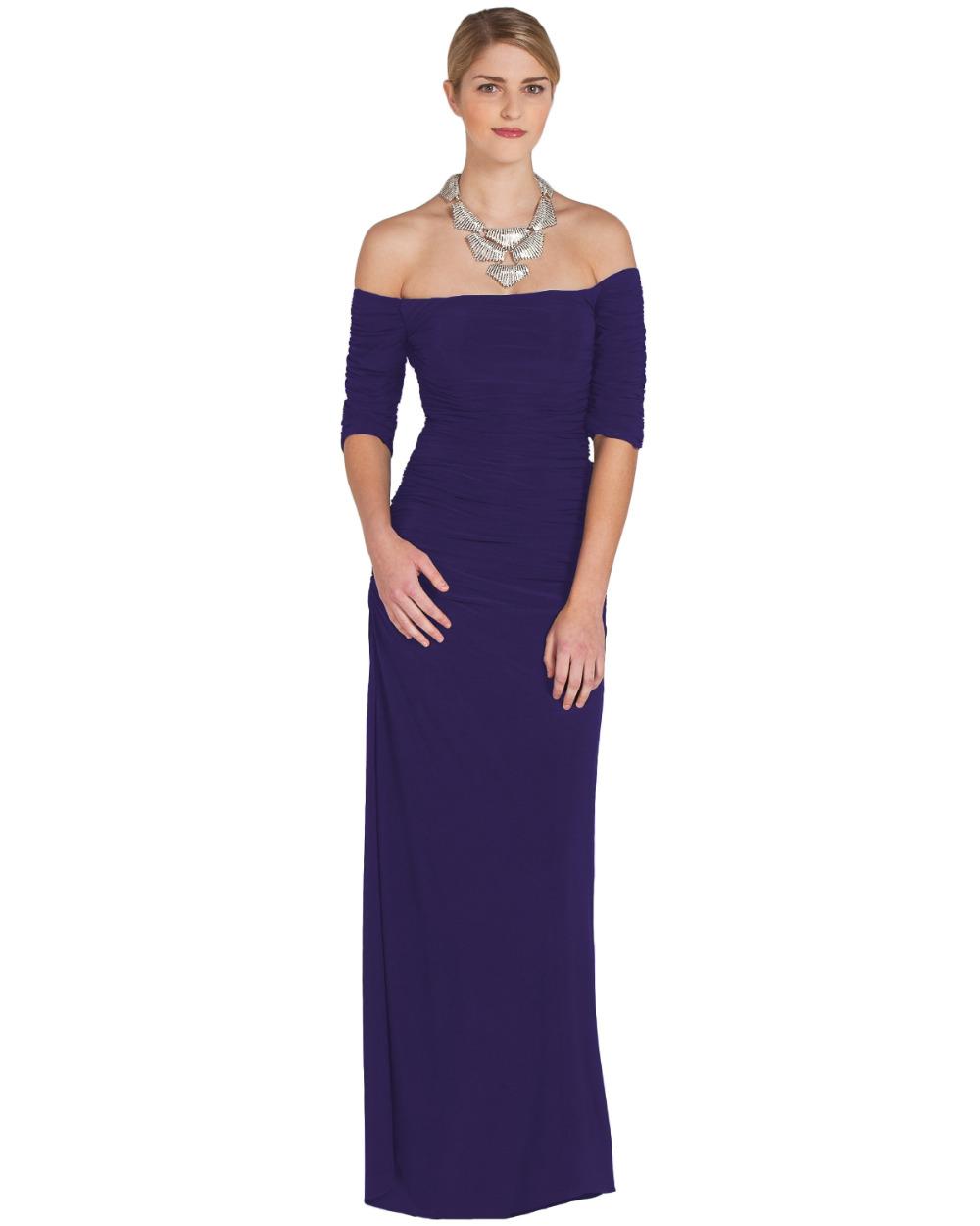 Navy blue long evening dress 2015 boat neck short sleeve for Navy evening dresses for weddings