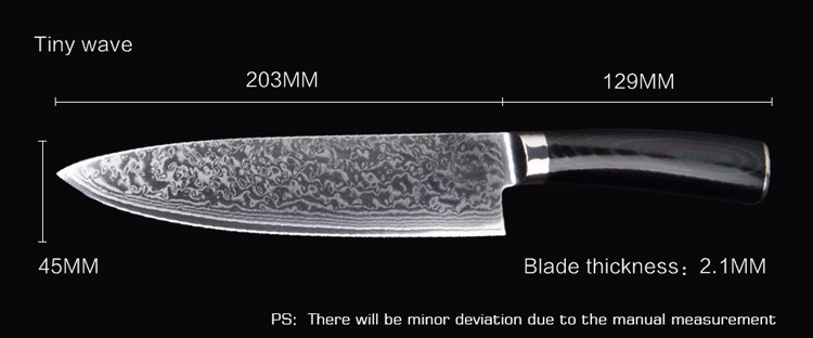 "Buy LD 8"" inches Damascus kitchen knives Damascus knife high quality VG10 Japanese steel chef knife Micarta handle free shipping cheap"