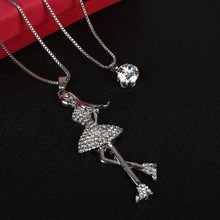 Buy ZOSHI New Bling Crystal Angle Lady pendant long necklace women silver color chain fashion jewelry wholesale statement necklaces for $1.85 in AliExpress store