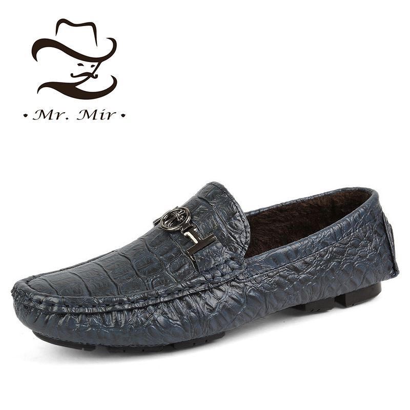 Mr Mir Fashion Genuine Leather Men Flats, Casual Warm Winter Leather Men Loafers, Brand Design Men Moccasins, Leather Men Shoes(China (Mainland))