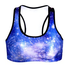 New Women Fitness Stretch Workout Tank Top Blue Galaxy printing Sports Seamless Bra breast pad free shipping No rims Tube Tops