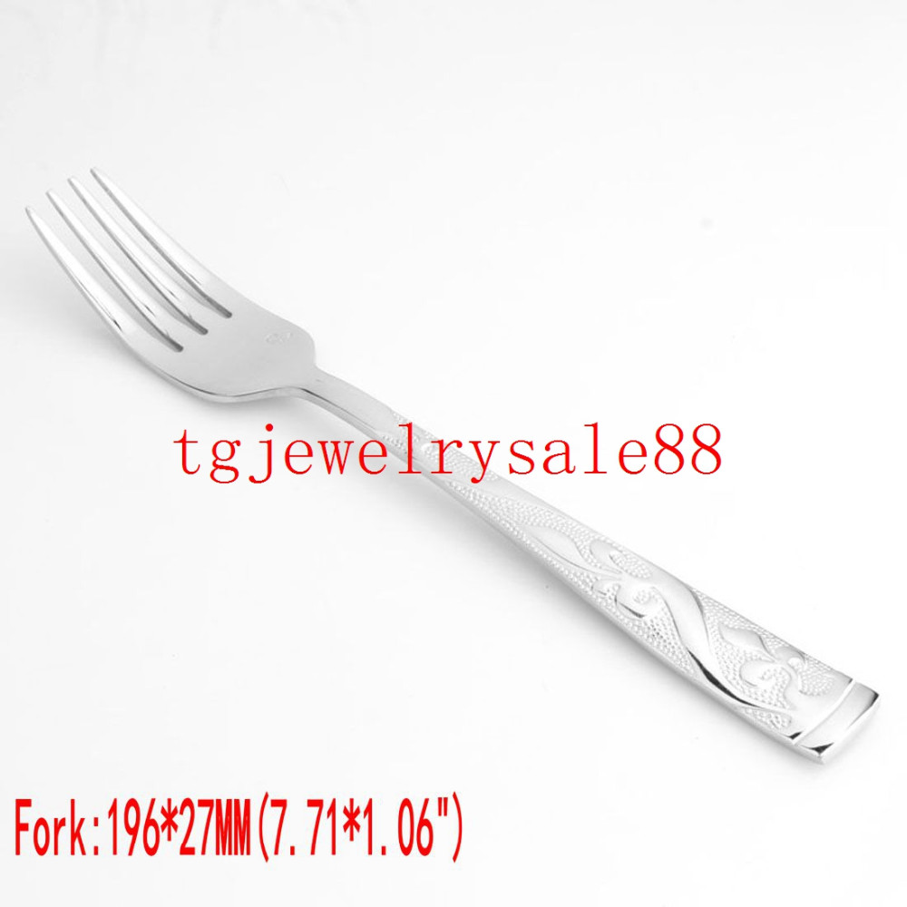 Buy New Design Exquisite Silver Tone Flower Pattern Stainless Steel Dinner Service 4pcs/sets Fork/Spoon/Knife Tableware Flatware Set cheap