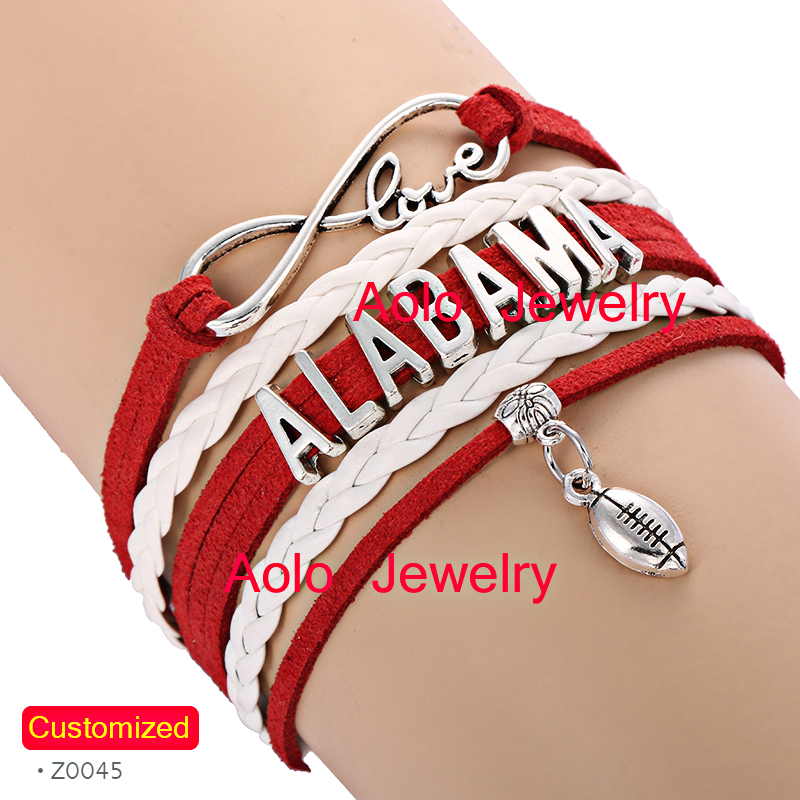6Pcs/Lot ALABAMA Football Infinity Bracelet Red/white Make Your Own Design Drop Shipping(China (Mainland))