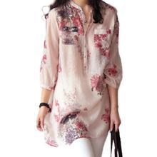 Floral Print Blouses New Summer 2016 Vintage Women Floral Print Blouses 3/4 Sleeve Linen Casual Long Tops Shirt Plus Size M-3
