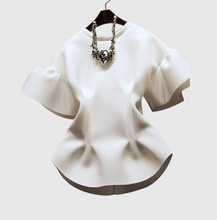 Hot Sell new fashion womens tops 2016 spring loose short sleeve round neck casual shirt white women blouse female shirts