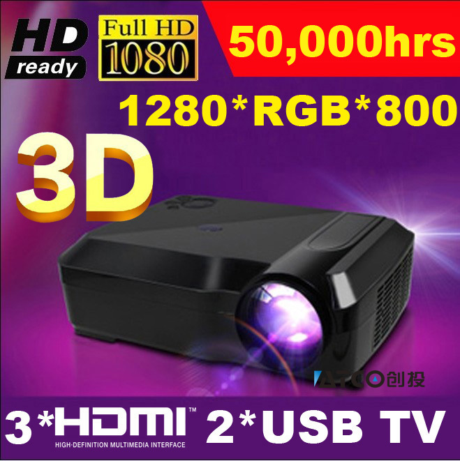 Promotion price Full HD 1080P 5500lumens 1280*800 Video 3HDMI 2USB LED Home Theater TV Projector Beamer Proyector 50,000hrs life(China (Mainland))