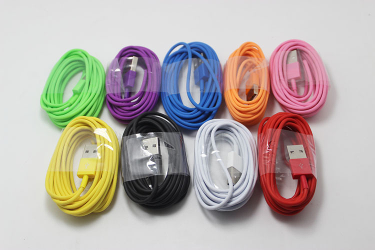 1pcs 3m 8pin Ordinary plastic usb charger cable Mobile color data line for iphone 6/5/5s/5c for ios 6/8 free shipping(China (Mainland))