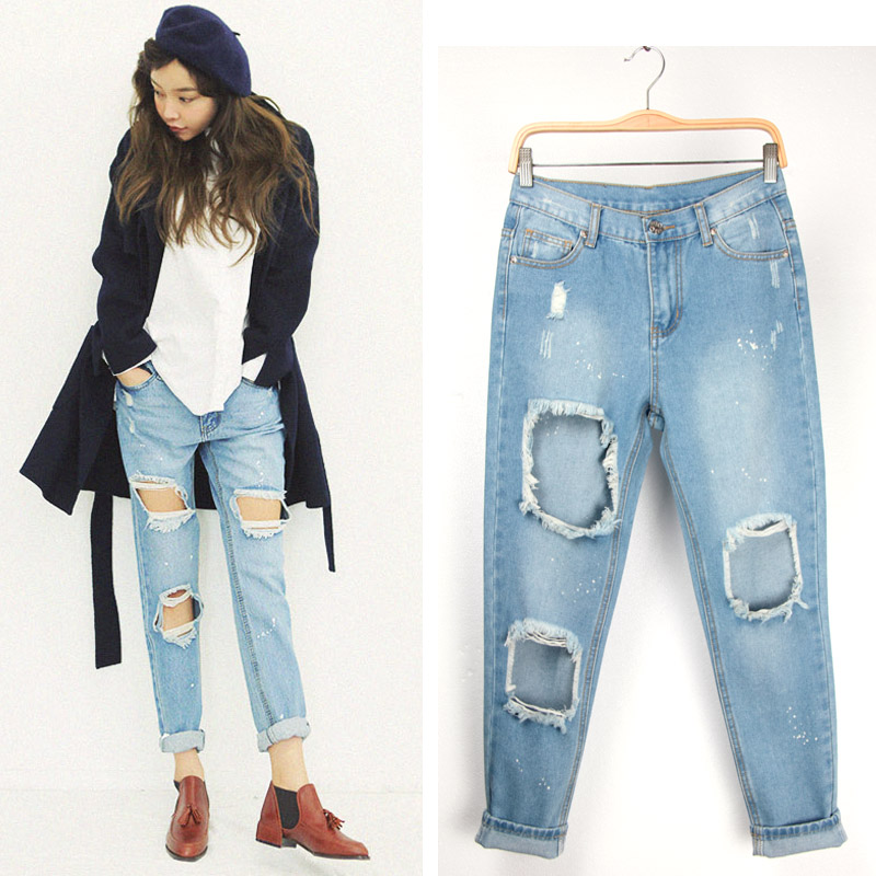 new women's denim jeans loose pants big hole cross trousers - Chic Classic Store store