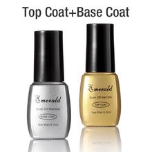 6.5ml*2 UV Top Coat and Base Coat Reinforcement UV Gel Polish Top coat bright 30 day long lasting Emerald Gel 6.5ml*2(China (Mainland))