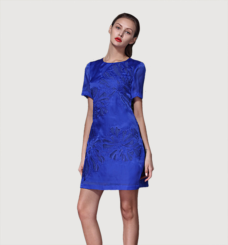 top quality 100 silk dress floral blue dress