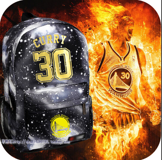 2015 NEW!Hot sale Backpack Golden State Warriors Curry 30 Backpack gold foil version Rucksacks Stephen free shipping(China (Mainland))
