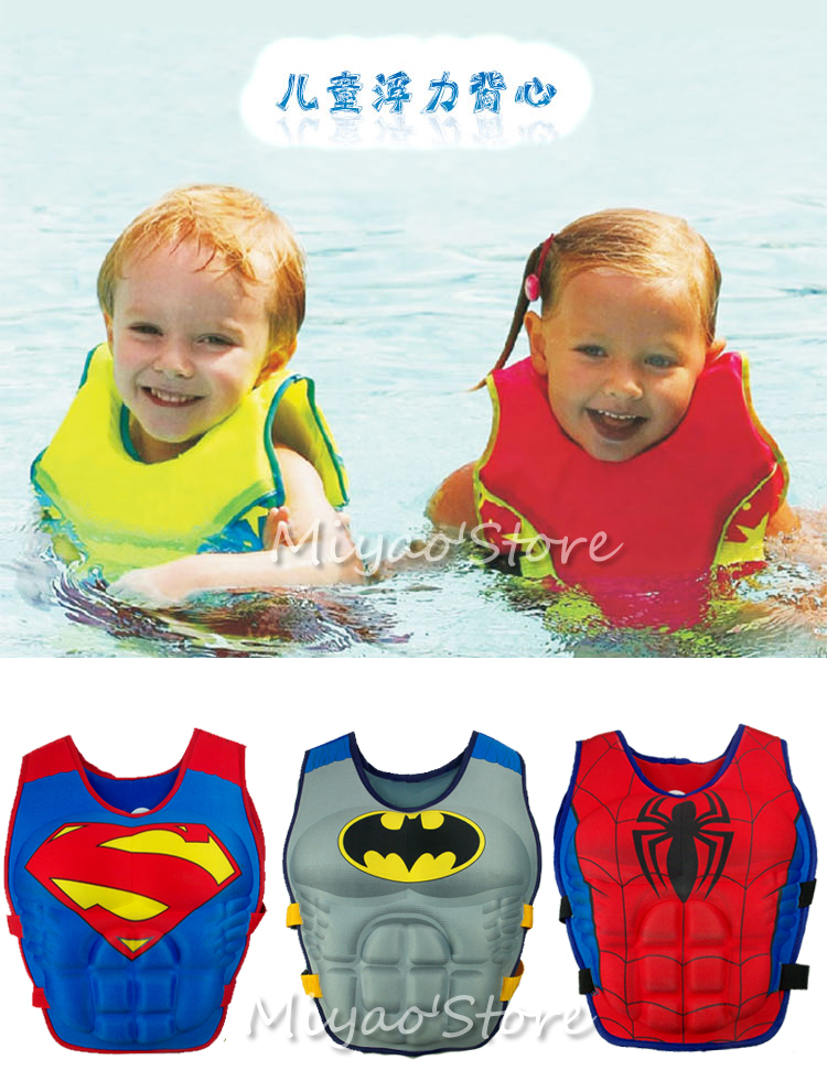 2015 life jacket for kids children's swimming vest life vest lifejackets 3 ~ 8years old spider-man superman drifting swimsuit(China (Mainland))