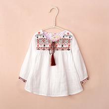 2016 nueva blusas chica de moda del estilo étnico primavera blusa 100% algodón de las muchachas blusa 2 color del bebé niñas blusas de vestir(China (Mainland))