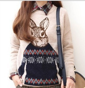 2014 New Arrival Women Casual Round Neck Long Sleeve Knitted Sweater School Style Mr.Rabbit Print Pullover Sweater LD0723(China (Mainland))