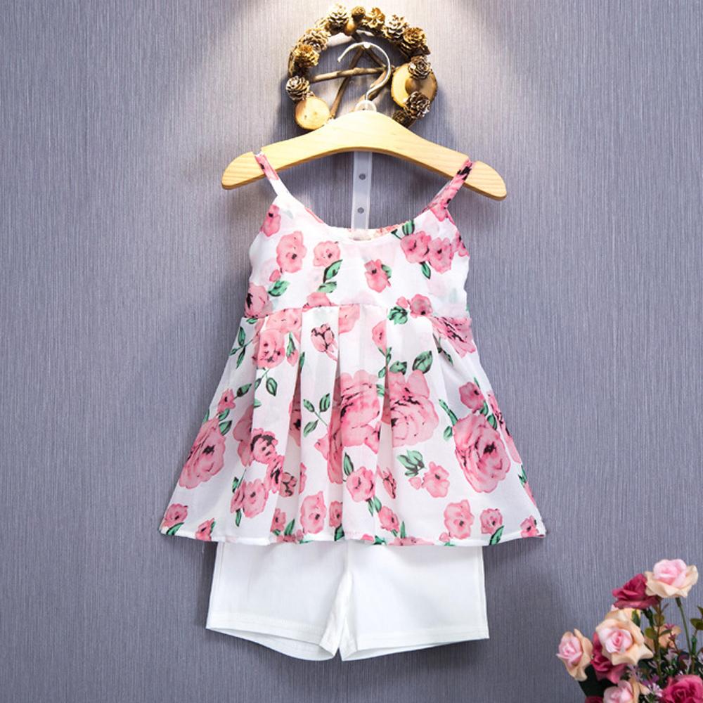girl clothes summer 2016 kids sleeveless print condole v-neck skirt unlined upper garment+White shorts suit children clothing(China (Mainland))