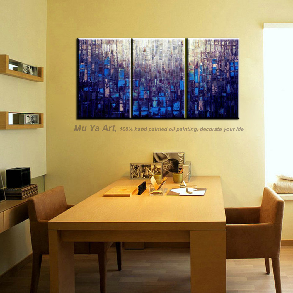 Buy Abstract modern 3 piece canvas wall art Knife paint pink oil hand painting sets on canvas for living room pictures decoration cheap