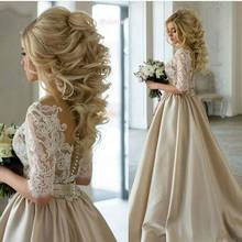 New Fashion robe de mariage 2017 A Line Boat Neck Vintage Bride Dresses with Long Sleeves Lace Wedding Gown Champagen (China (Mainland))