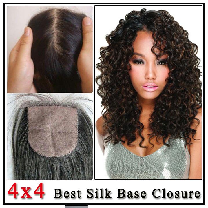 Brazilian Curly Silk Base Closure Unprocessed Virgin Brazilian Curly Human Hair Free/Middle/3 Part Silk Base Closure free DHL<br><br>Aliexpress