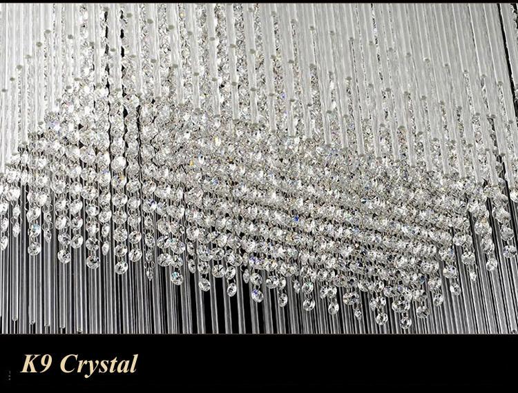 Купить Z Прямоугольник Роскошные Crystal Hall Большой Потолочный Светильник Творческая Гостиная Ресторан Подвесной Светильник Инжиниринг Крытый Лампы