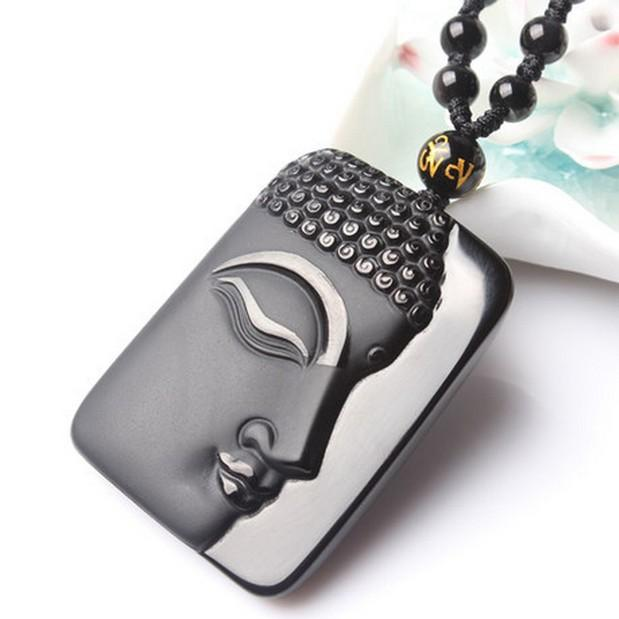 Natural obsidian Vintage Necklace Black Buddha Head Pendant For women&men Jade Jewelry(China (Mainland))