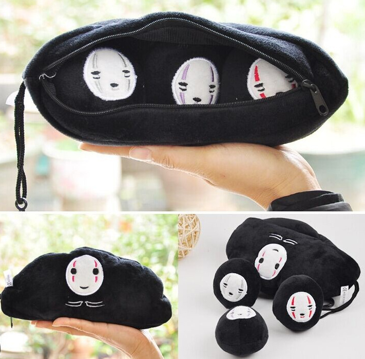SIZE BIG 24CM Approx. Black Mask Pea Design 3 Beans Stuffed Toy Plush DOLL & BAG String Pendant TOY DOLL(China (Mainland))
