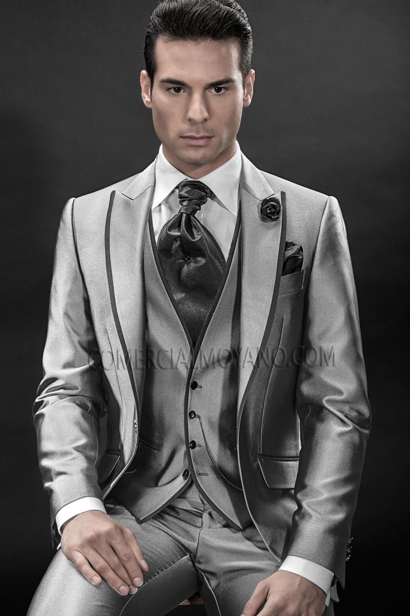 Здесь можно купить  2016 Slim Fit Groom Tuxedo Silver Grey Groomsmen Peak Lapel Wedding/Dinner Suits Best Man Bridegroom (Jacket+Pants+Tie+Vest)B350  Одежда и аксессуары