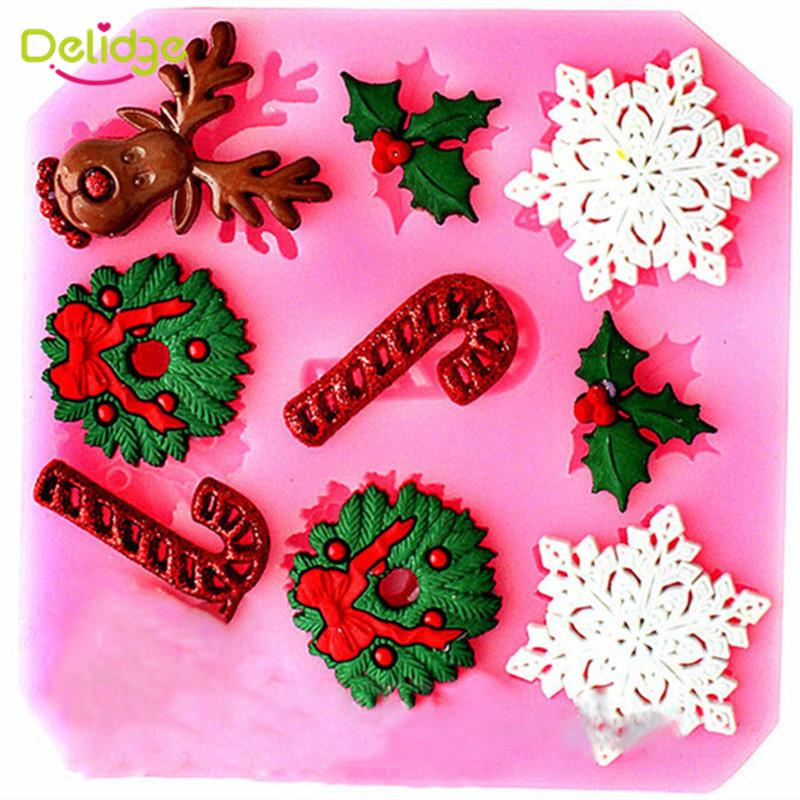 Delidge Cartoon Christmas Gift Series Shape Fondant Mould 3D Christmas Tree Jingle Bell Snowflake Silicone Chocolate Mould(China (Mainland))
