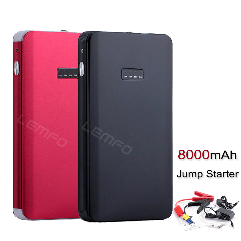 8000mAh Car Jump Starter Mini Emergency Power Bank Battery Charger For Car Start PC Moblie Phone Multi-Function Ultra Thin(China (Mainland))