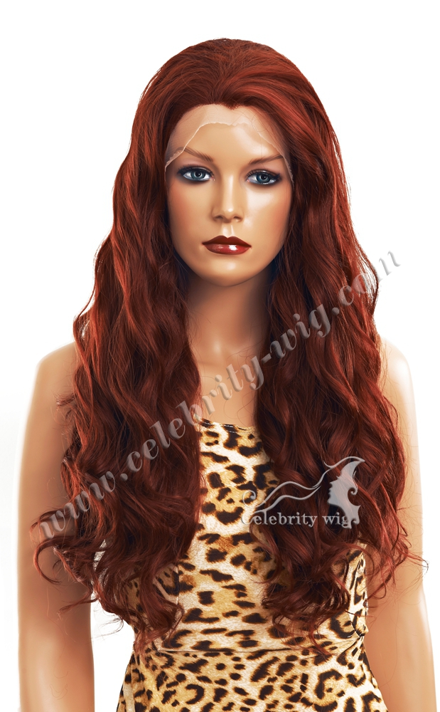 Imstyle Celebrity Red Copper Long Loose Wavy Synthetic Lace Front Wigs For White Women 24inch Cheap Glueless Lace Drag Wigs(China (Mainland))
