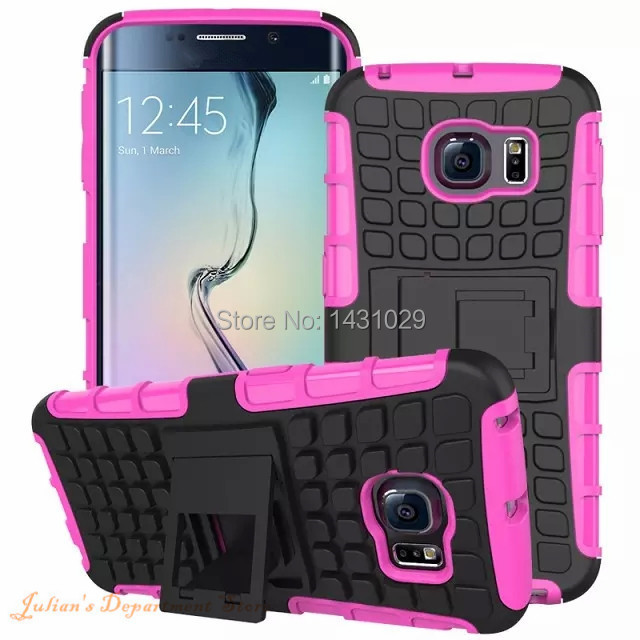 Luxury Hard For Galaxy S6 Edge Case Plastic G9250 Hybrid Armor Case For Samsung Galaxy S6 Edge Slim Stand Shock Proof Back Cover(China (Mainland))