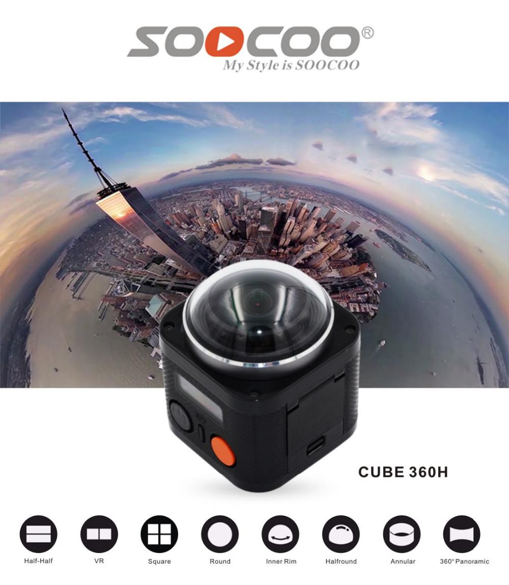 ถูก SOOCOO Cube360H 4พัน360องศาพาโนรามากล้องWifiกันน้ำ15เมตรที่มีการควบคุมระยะไกลVRกล้อง
