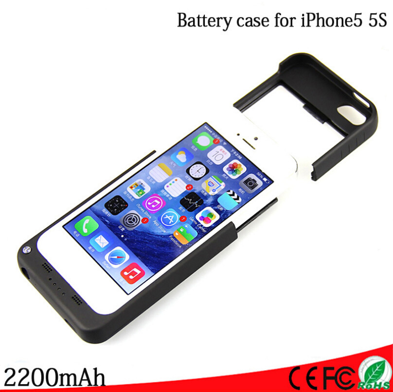 2200mAh For iPhone 5 5s External Portable Emergency Battery Backup Charger Device Power Bank Case Cover For iphone 5 5s(China (Mainland))